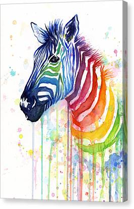Rainbow Zebra - Ode To Fruit Stripes Canvas Print by Olga Shvartsur