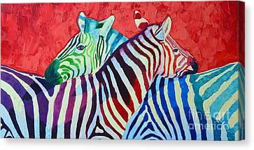 Rainbow Zebras In Love Canvas Print by Ana Maria Edulescu