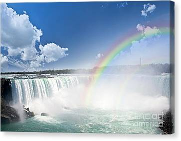 Rapids Canvas Print - Rainbows At Niagara Falls by Elena Elisseeva