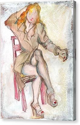 Raincoat Girl Canvas Print