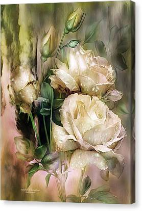 Raindrops On Antique White Roses Canvas Print by Carol Cavalaris