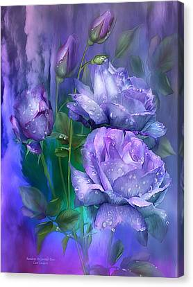 Raindrops On Lavender Roses Canvas Print by Carol Cavalaris