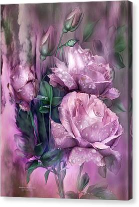 Drop Canvas Print - Raindrops On Pink Roses by Carol Cavalaris