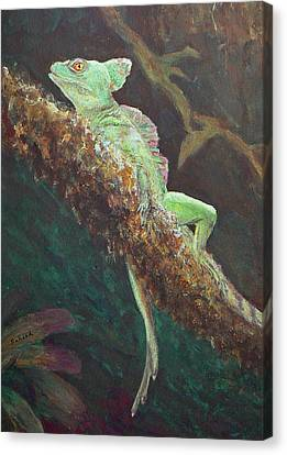 Canvas Print featuring the painting Rainforest Basilisk by Margaret Saheed
