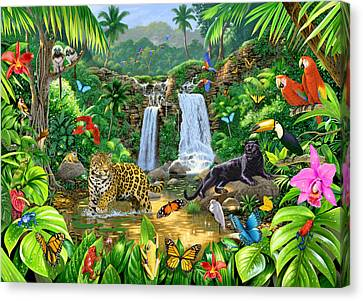 Parrots Canvas Print - Rainforest Harmony Variant 1 by Chris Heitt