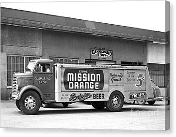 Canvas Print featuring the photograph Rainier Beer Mission Orange by Vibert Jeffers