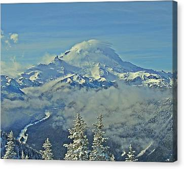 Rainier Cloaked In Winter Canvas Print by Jeff Cook