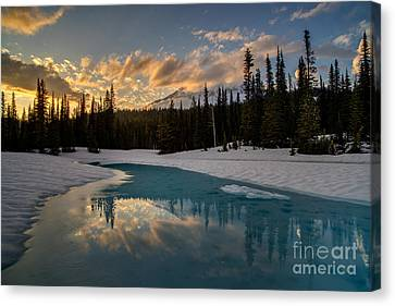 Thaw Canvas Print - Rainier Fiery Skies Reflection by Mike Reid
