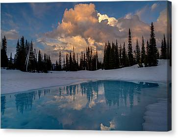 Thaw Canvas Print - Rainier Stratus Clouds Reflection by Mike Reid