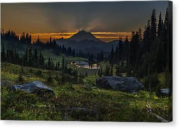 Rainier Sunset Basin Canvas Print by Mike Reid