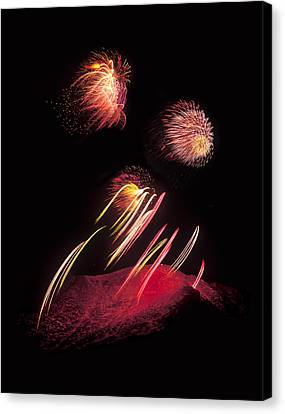 Raining Fire At Midnight Above 14000 Feet Canvas Print by Bijan Pirnia