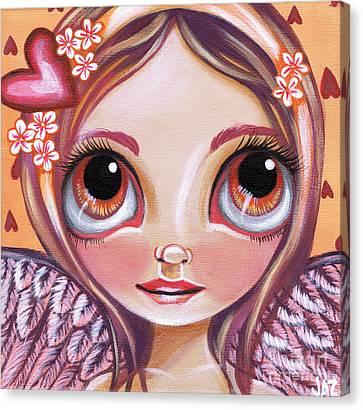 Fairy Hearts Pink Flower Canvas Print - Raining Hearts by Jaz Higgins