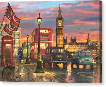 Raining In Parliament Square Variant 1 Canvas Print by Dominic Davison