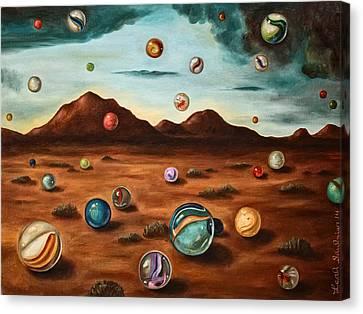 Raining Marbles Edit 6 Canvas Print by Leah Saulnier The Painting Maniac