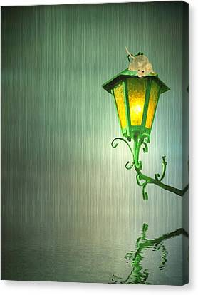Lamp Post Canvas Print - Raining by Sharon Lisa Clarke