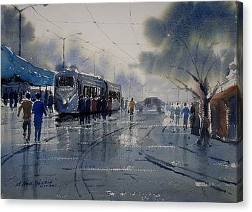 Rainwashed Kolkata Canvas Print by Jiaur Rahman