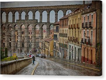 Historic Site Canvas Print - Rainy Afternoon In Segovia by Joan Carroll