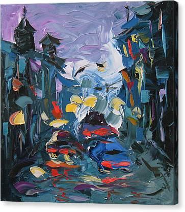 Rainy City Canvas Print by Solomoon Art Studio