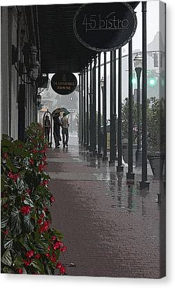 Rainy Day In Savannah - Marshall House Canvas Print by Suzanne Gaff