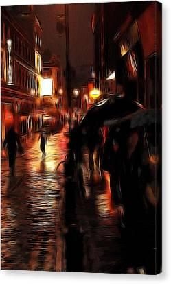 Rainy Day In Soho Canvas Print by Steve K