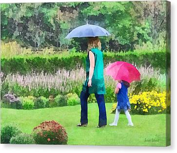 Rainy Day In The Garden Canvas Print by Susan Savad