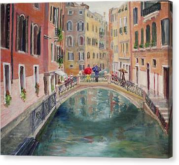 Rainy Day In Venice Canvas Print by Harriett Masterson