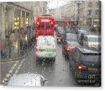 Rainy Day London Traffic Canvas Print by Ann Horn