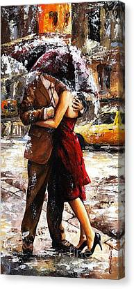 Rainy Day - Love In The Rain 2 Canvas Print by Emerico Imre Toth