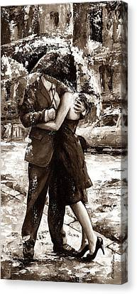 Rainy Day - Love In The Rain 2 Sepia Canvas Print by Emerico Imre Toth