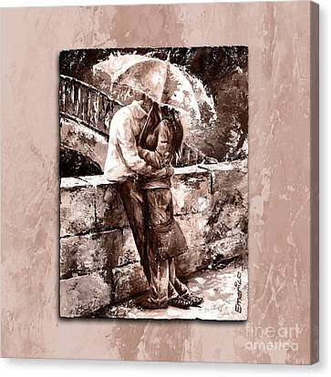 Rainy Day - Love In The Rain Style Mistyrose Canvas Print by Emerico Imre Toth