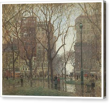 Rainy Day Madison Square New York Canvas Print by Paul Cornoyer