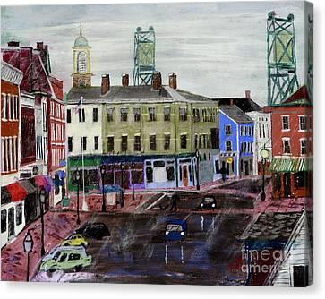 Rainy Day On Market Square Canvas Print