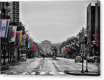 Rainy Day On The Parkway Canvas Print by Bill Cannon