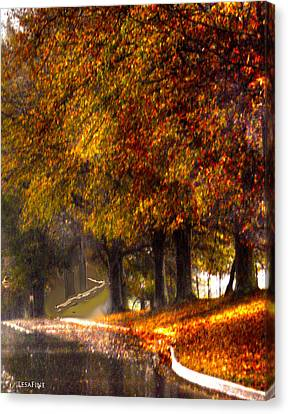 Canvas Print featuring the photograph Rainy Day Path by Lesa Fine