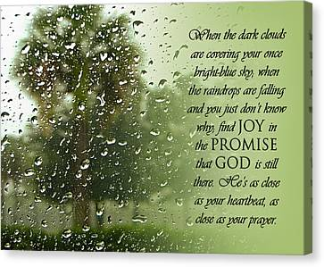 Christian Poetry Canvas Print - Rainy Day Promise by Carolyn Marshall