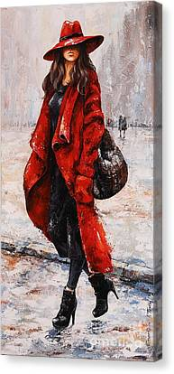 Rainy Day - Red And Black #2 Canvas Print
