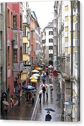 Rainy Day Shopping Canvas Print by Ann Horn