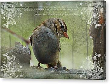 Rainy Day Sparrow With Verse Canvas Print by Debbie Portwood