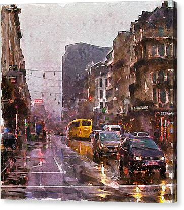 Rainy Day Traffic Canvas Print