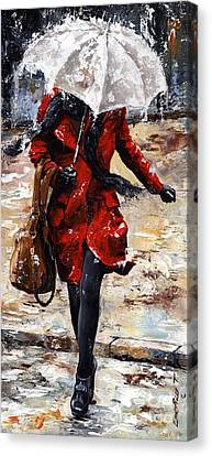 Rainy Day - Woman Of New York 10 Canvas Print by Emerico Imre Toth