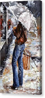 Rainy Day - Woman Of New York 15 Canvas Print by Emerico Imre Toth