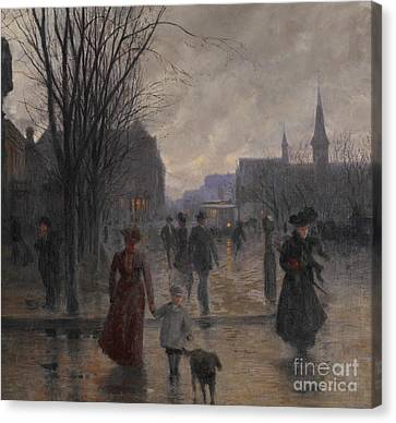 Weathered Canvas Print - Rainy Evening On Hennepin Avenue by Robert Koehler