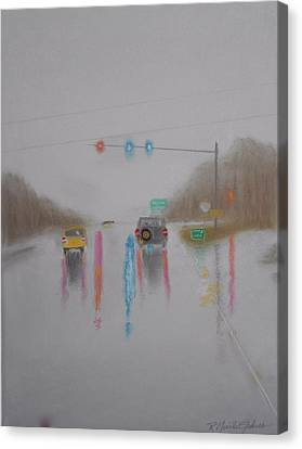 Rainy Foggy Drive In The Country  Canvas Print