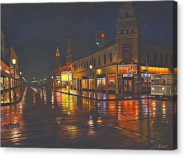 Rainy Night-117th And Detroit     Canvas Print