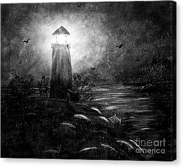 Rainy Night At The Lighthouse Canvas Print