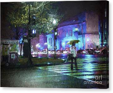 Crosswalk Canvas Print - Rainy Night Blues by Terry Rowe
