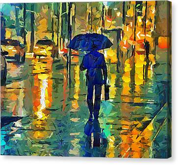 Times Square Canvas Print - Rainy Night In Nyc by Yury Malkov