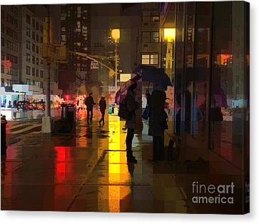 Rainy Night New York Canvas Print by Miriam Danar