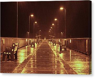 Rainy Night On The Pier Canvas Print