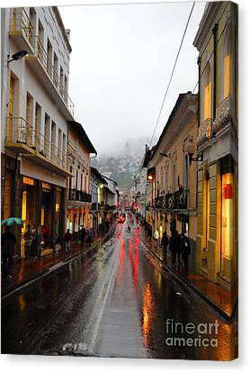 Rainy Quito Street Canvas Print by Al Bourassa